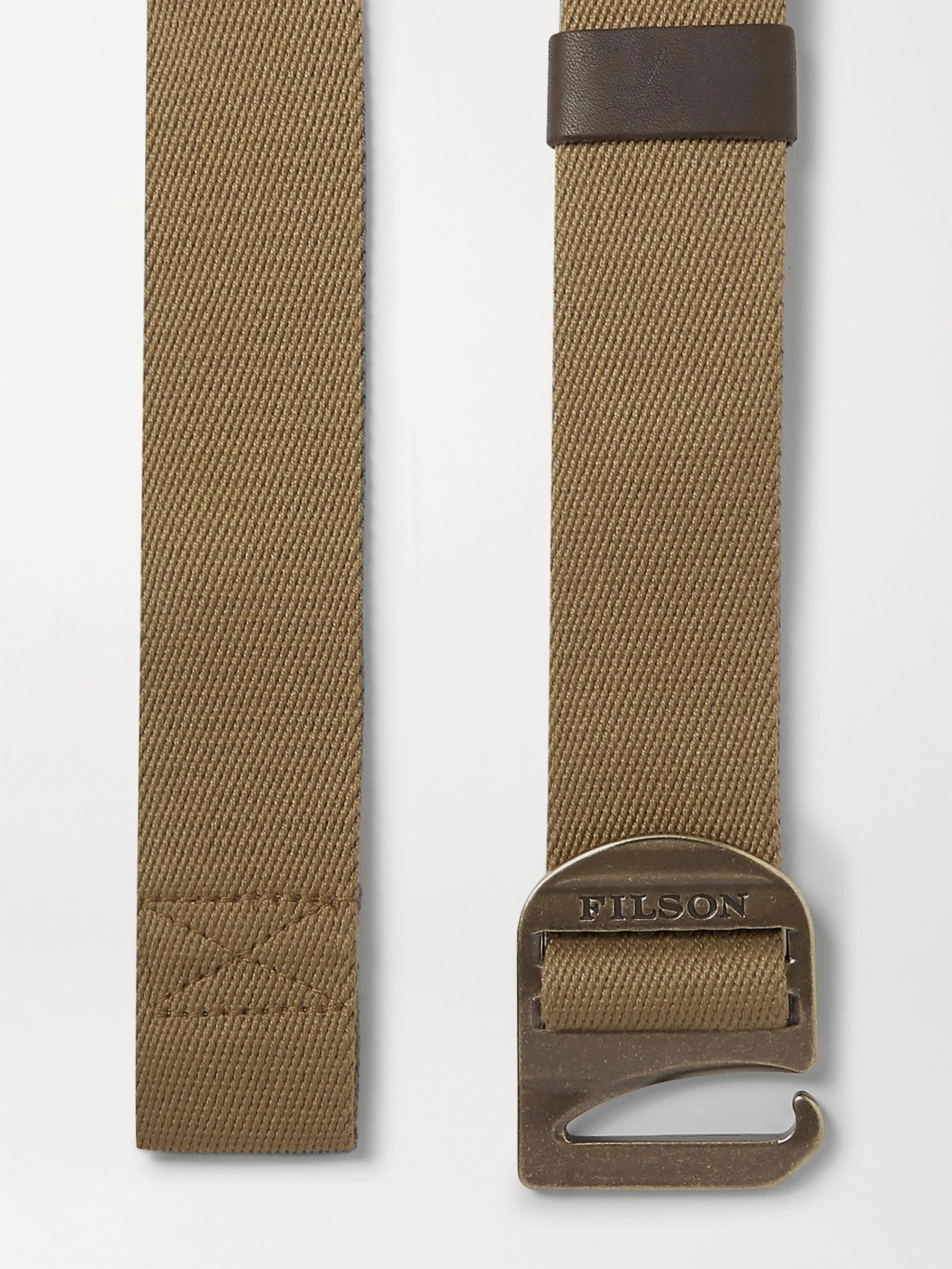 Filson Tan Togiak 4cm Leather-Trimmed Webbing Belt
