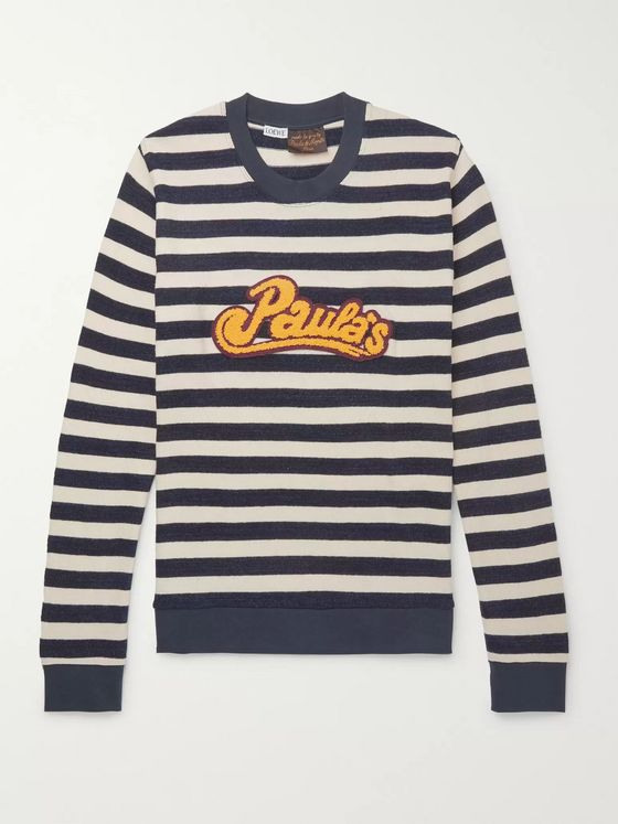 Loewe + Paula's Ibiza Logo-Appliquéd Striped Cotton Sweatshirt