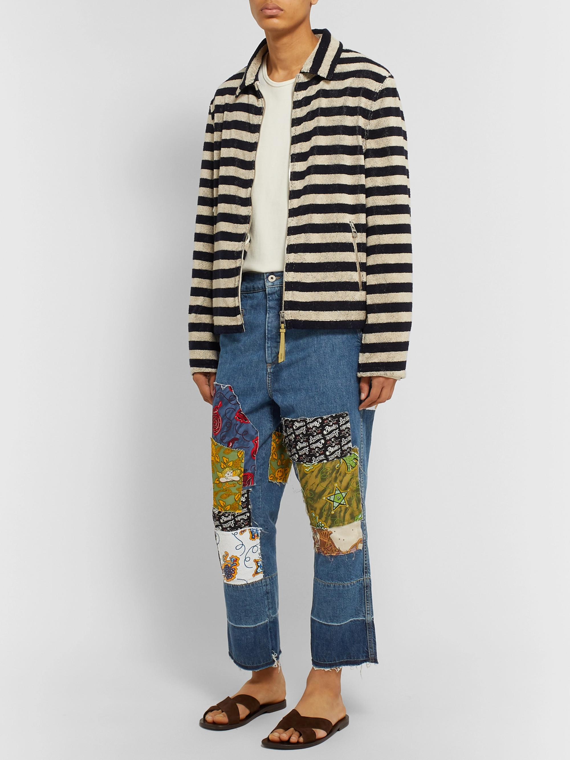 Loewe + Paula's Ibiza Fisherman Wide-Leg Cropped Patchwork Denim Jeans