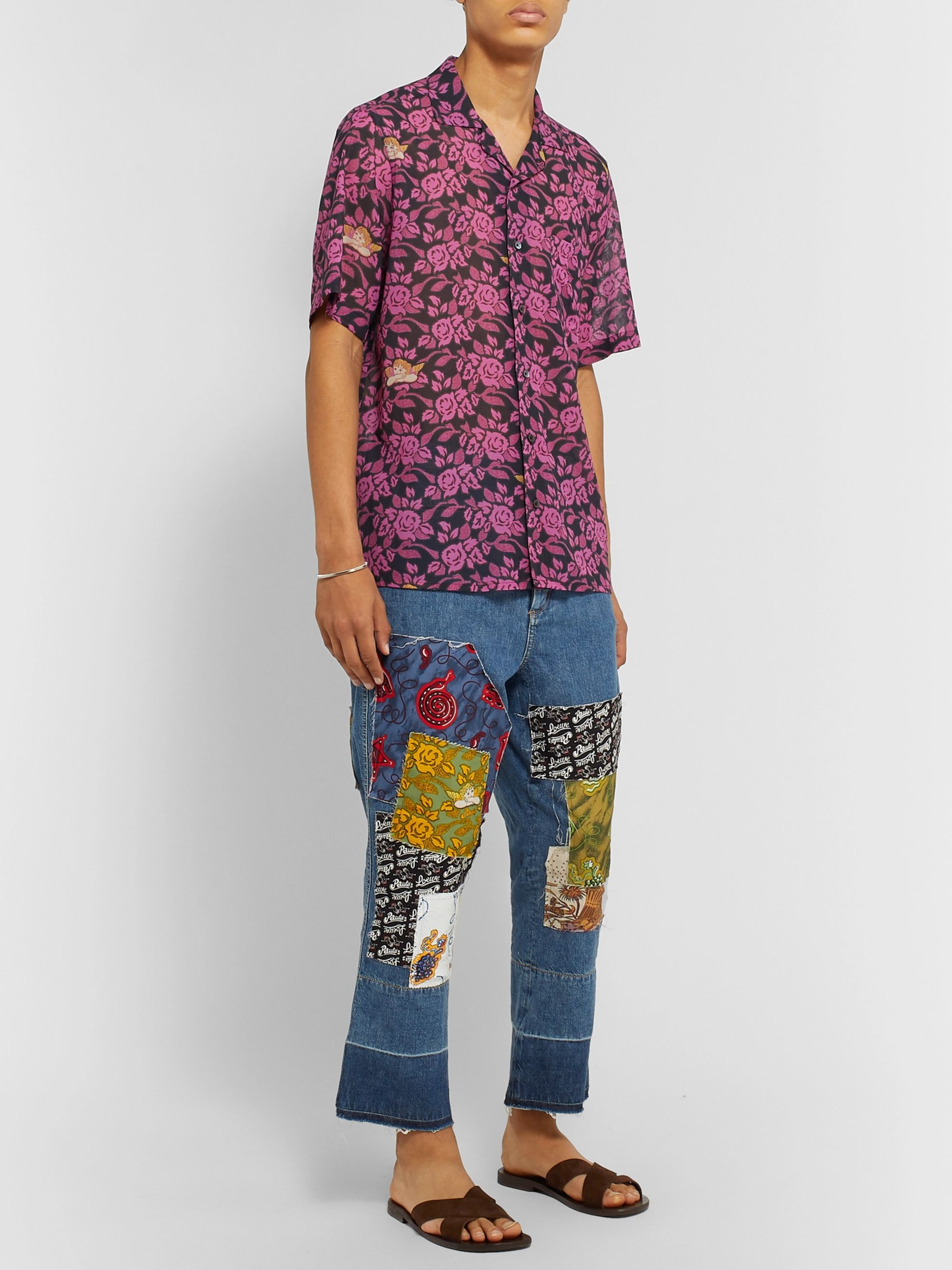 Loewe + Paula's Ibiza Camp-Collar Floral-Print Cotton-Gauze Shirt