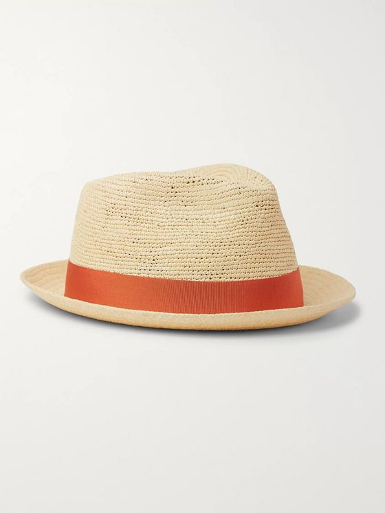 Borsalino Small-Brimmed Grosgrain-Trimmed Straw Panama Hat