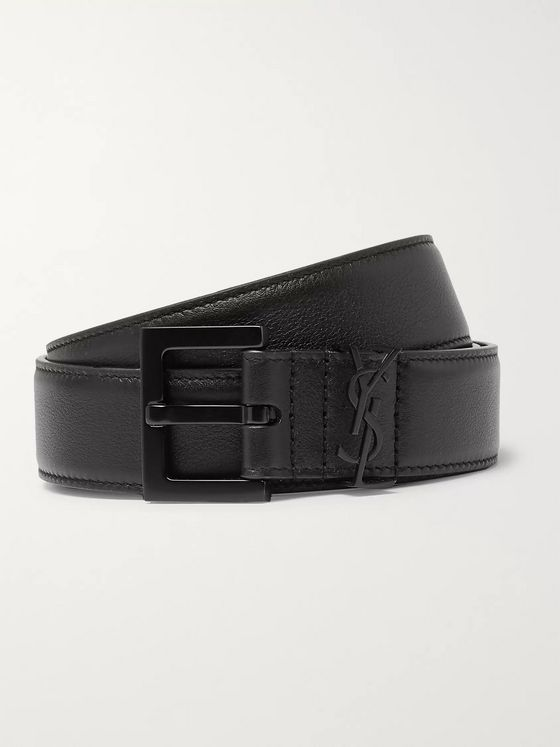 SAINT LAURENT 3cm Black Full-Grain Leather Belt