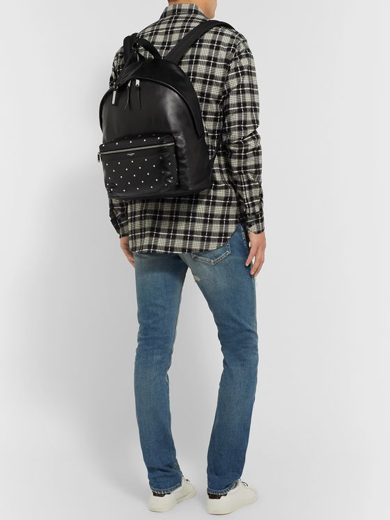 SAINT LAURENT City Embellished Leather Backpack