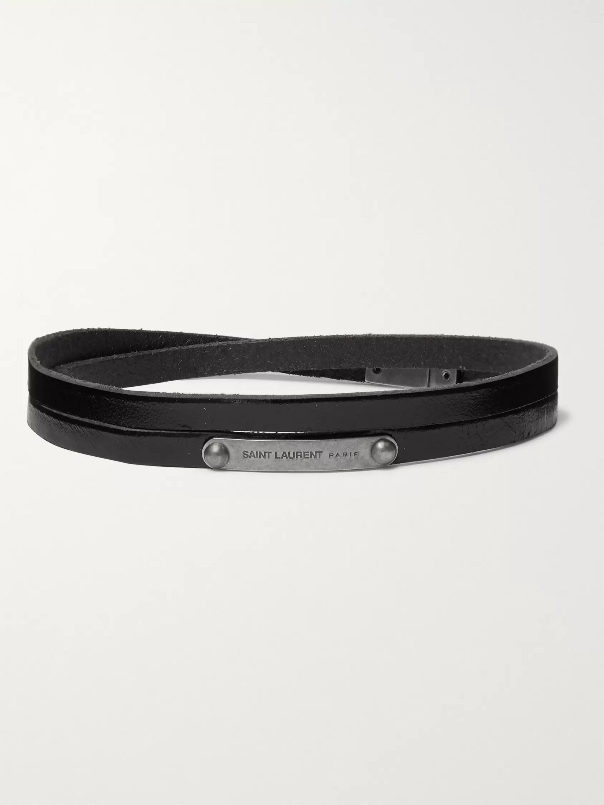 SAINT LAURENT Burnished Silver-Tone and Leather Wrap Bracelet
