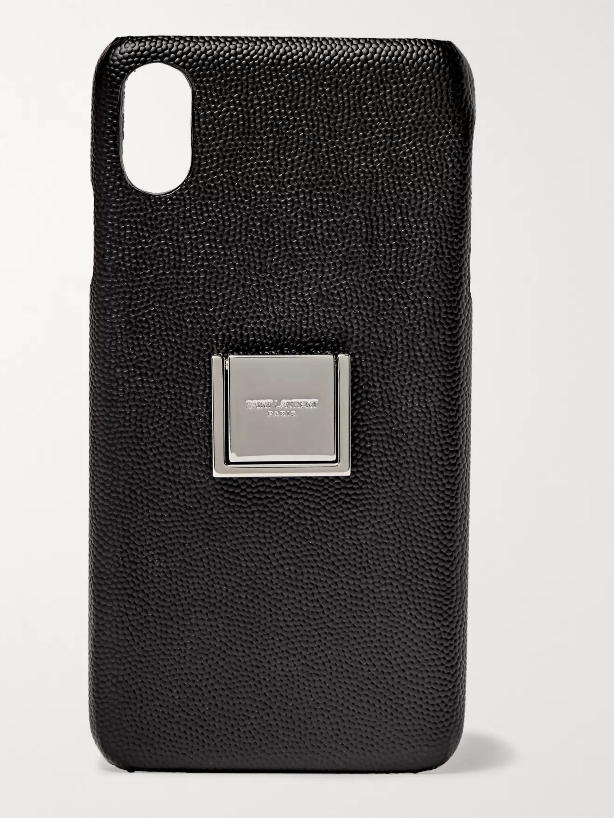SAINT LAURENT Pebble-Grain Leather iPhone XS Max Case
