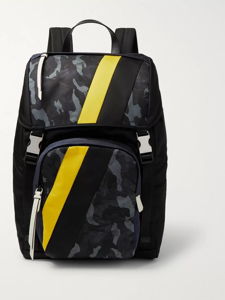 Prada Leather-Trimmed Camouflage-Print Nylon Backpack