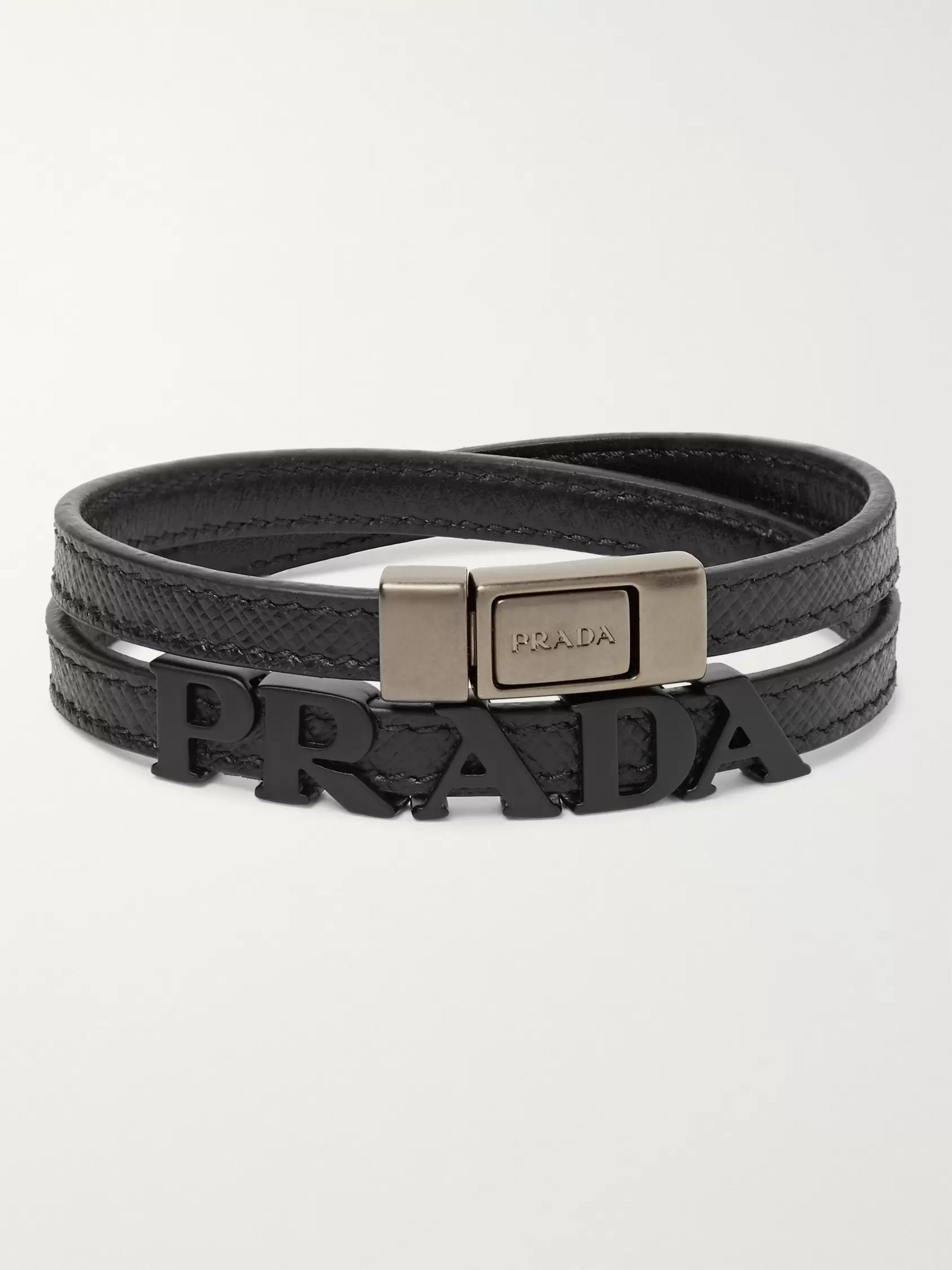 Prada Logo-Detailed Saffiano Leather and Metal Wrap Bracelet