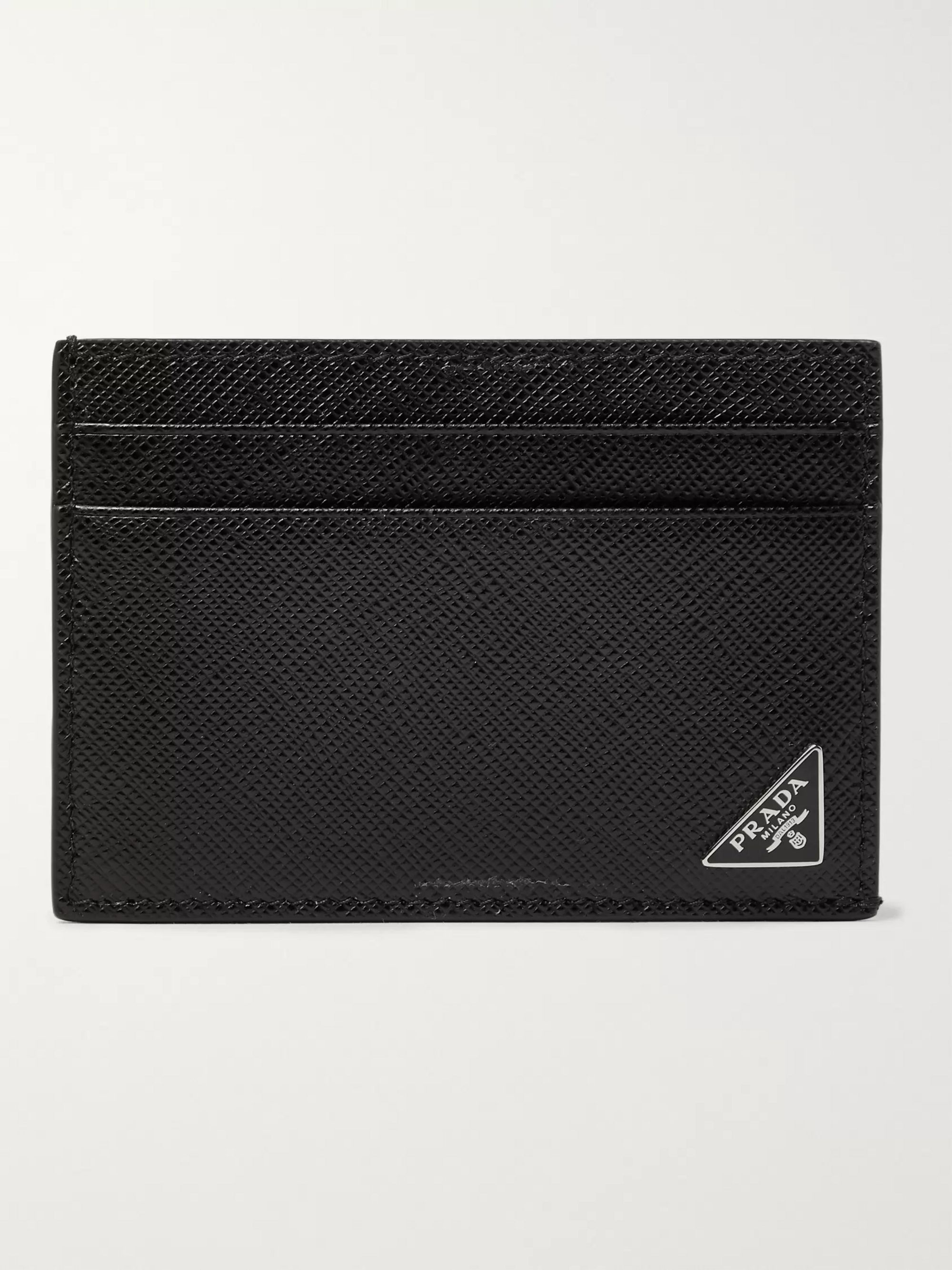 Prada Logo-Appliquéd Saffiano Leather Cardholder and Money Clip
