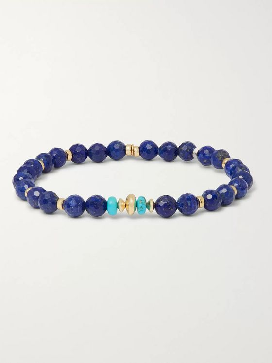 Peyote Bird Lapis Lazuli, Turquoise and 14-Karat Gold Bracelet