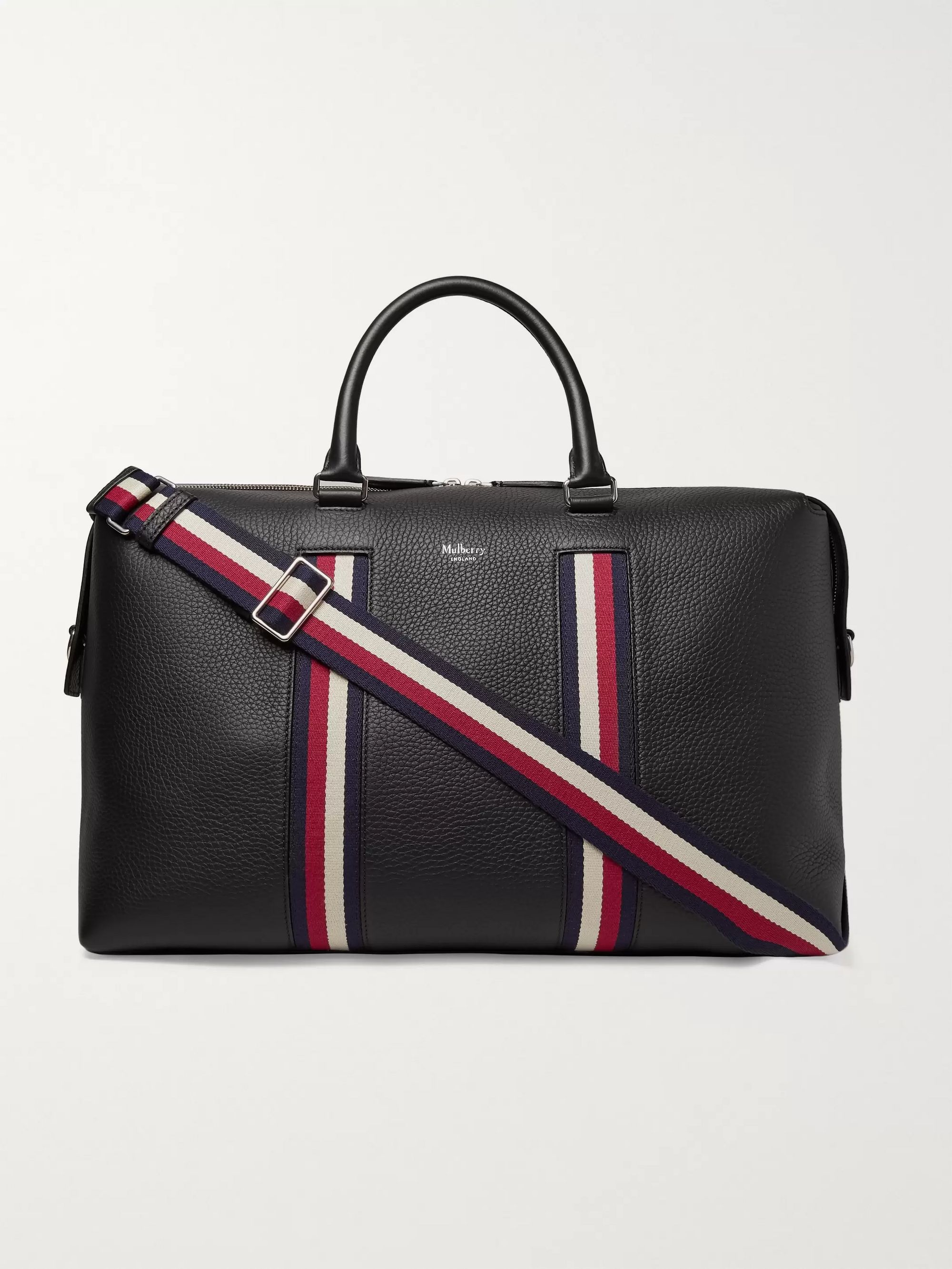 Mulberry Webbing-Trimmed Full-Grain Leather Holdall