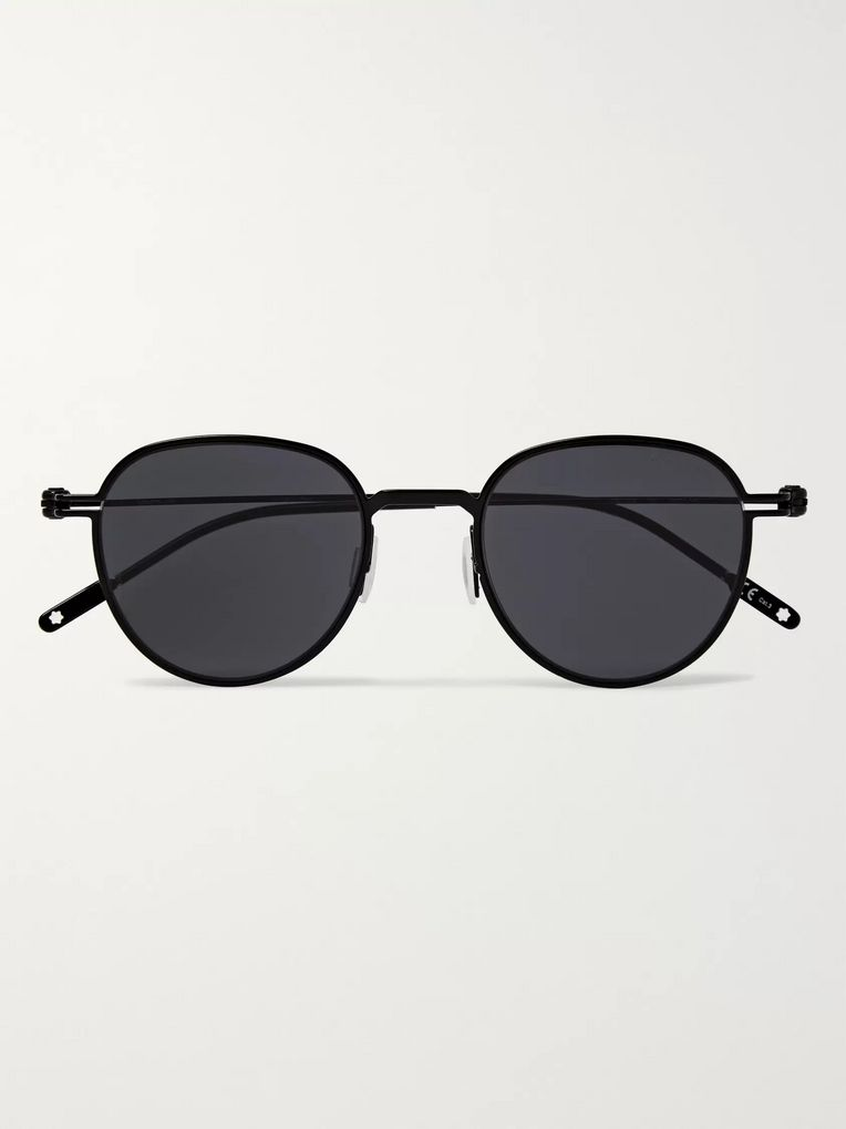Montblanc Round-Frame Metal Sunglasses