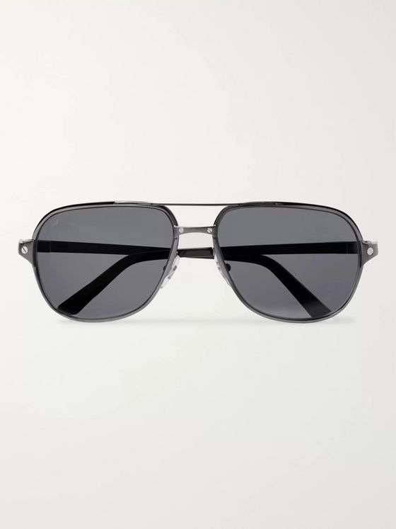 Cartier Eyewear Santos de Cartier Aviator-Style Leather-Trimmed Gunmetal-Tone Polarised Sunglasses
