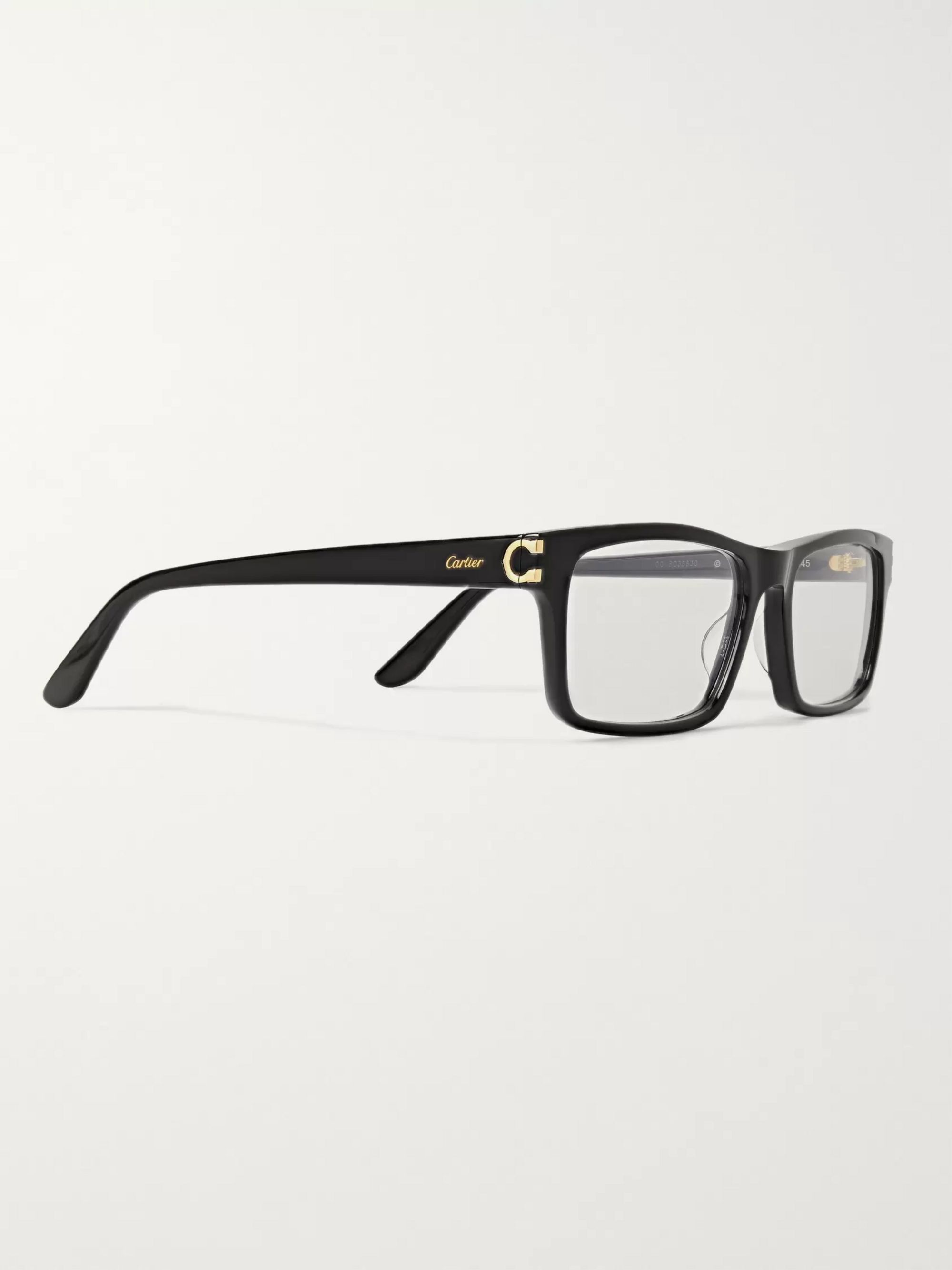 Cartier Eyewear Rectangle-Frame Acetate Optical Glasses