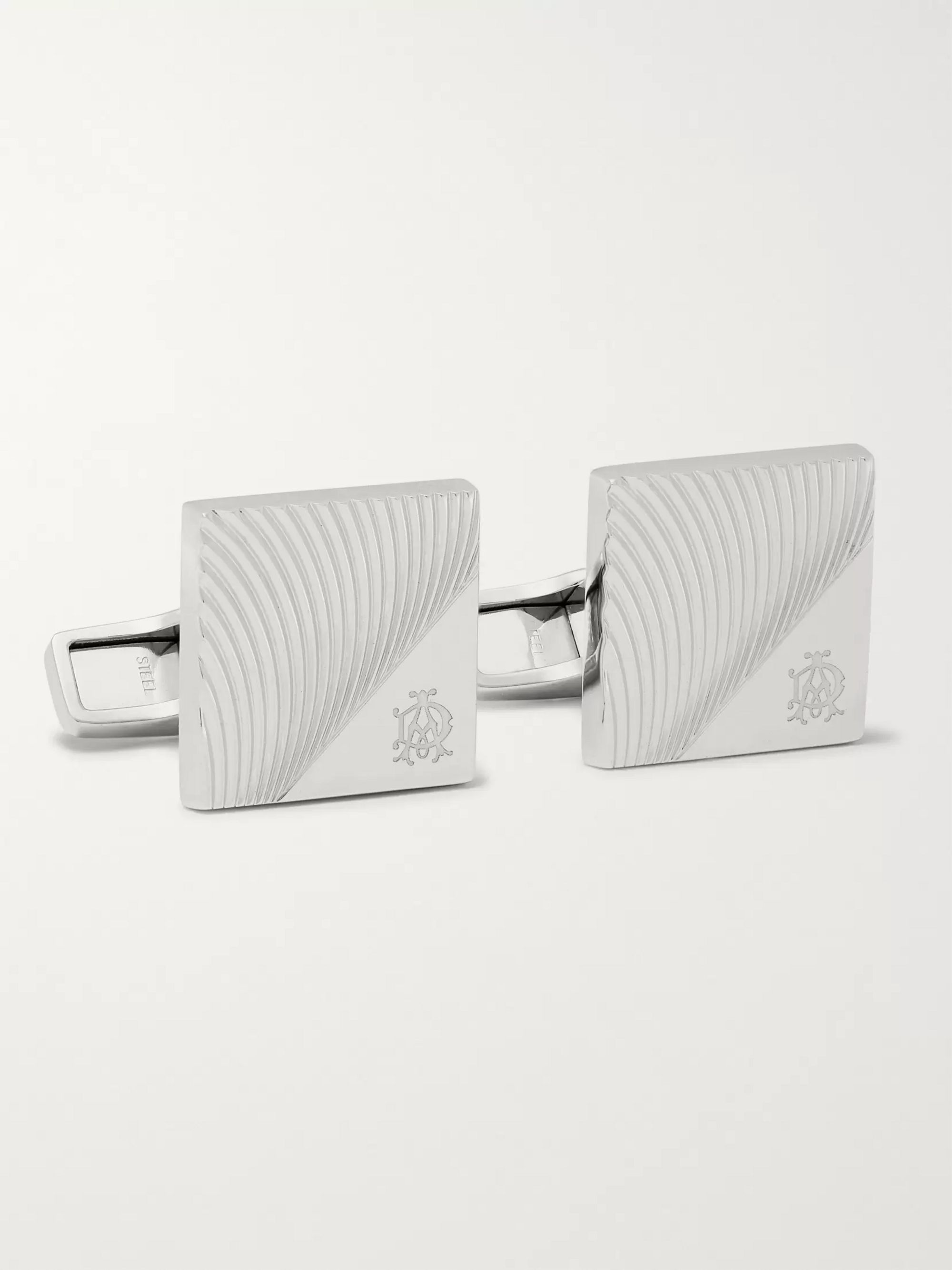 Dunhill Engraved Rhodium-Plated Cufflinks