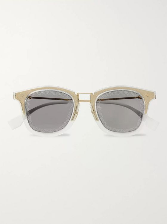 Fendi D-Frame Acetate and Gold-Tone Logo-Print Sunglasses