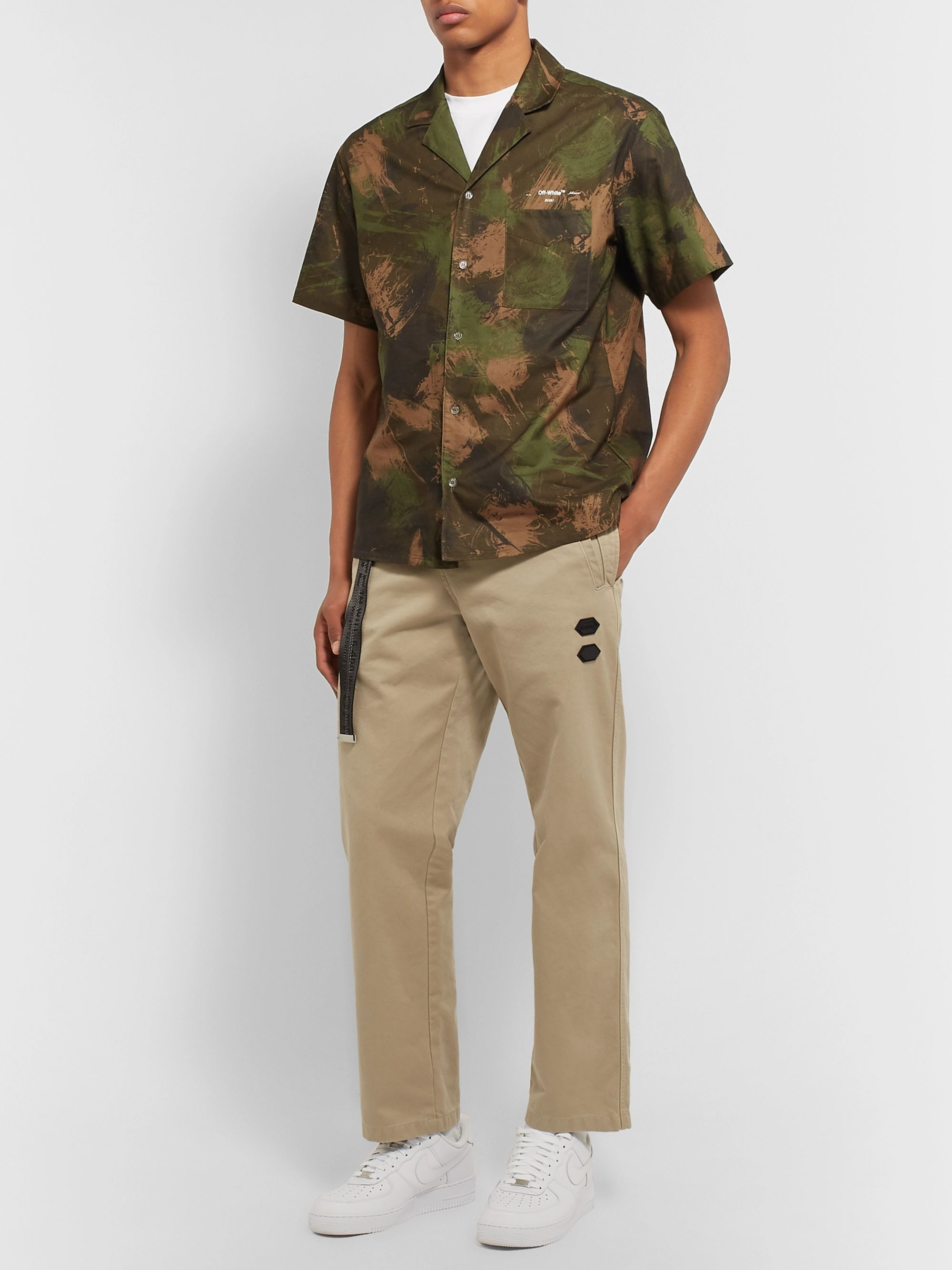 Off-White Camp-Collar Camouflage-Print Cotton Shirt