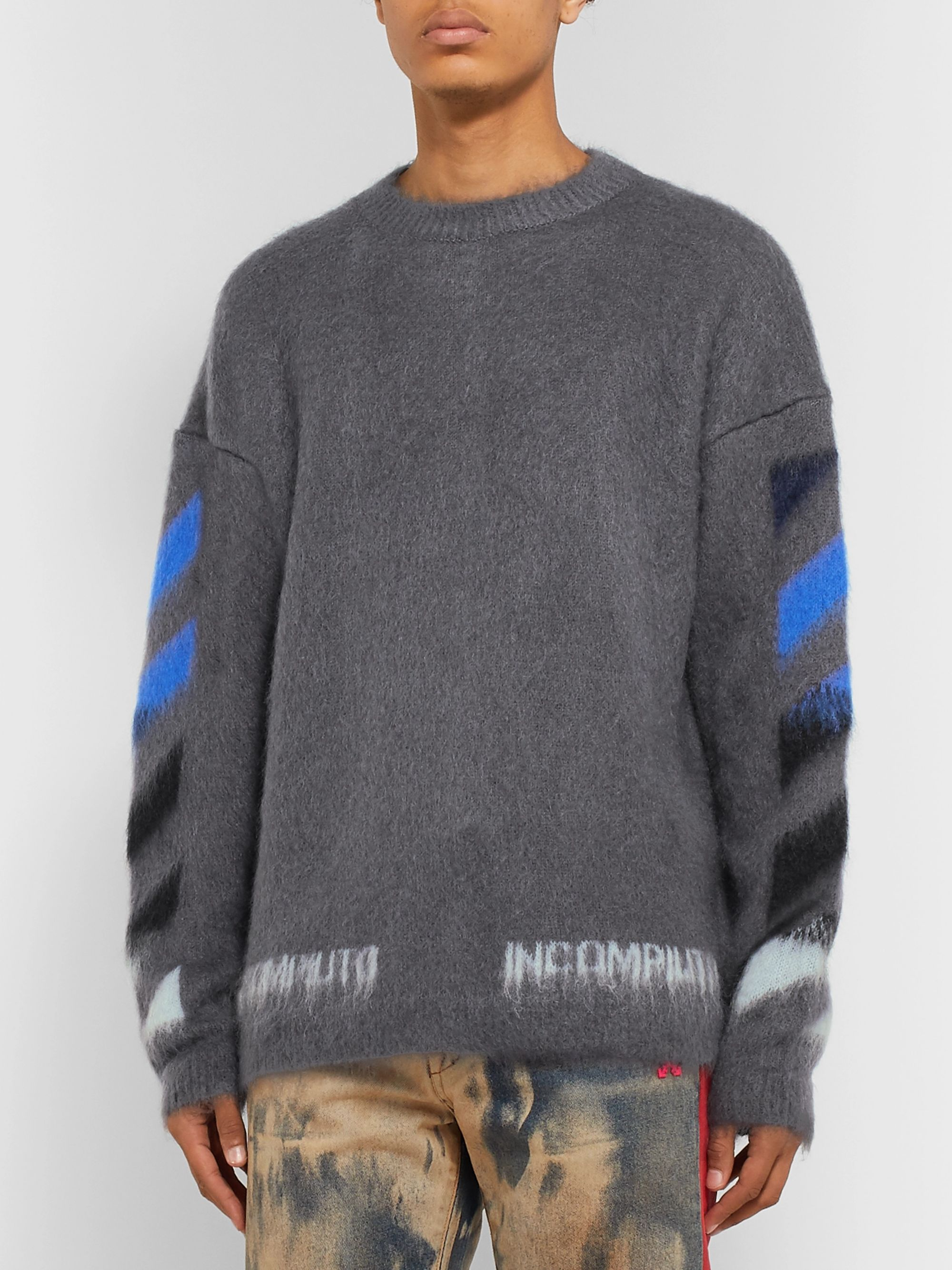 Off-White Logo-Print Mohair-Blend Sweater