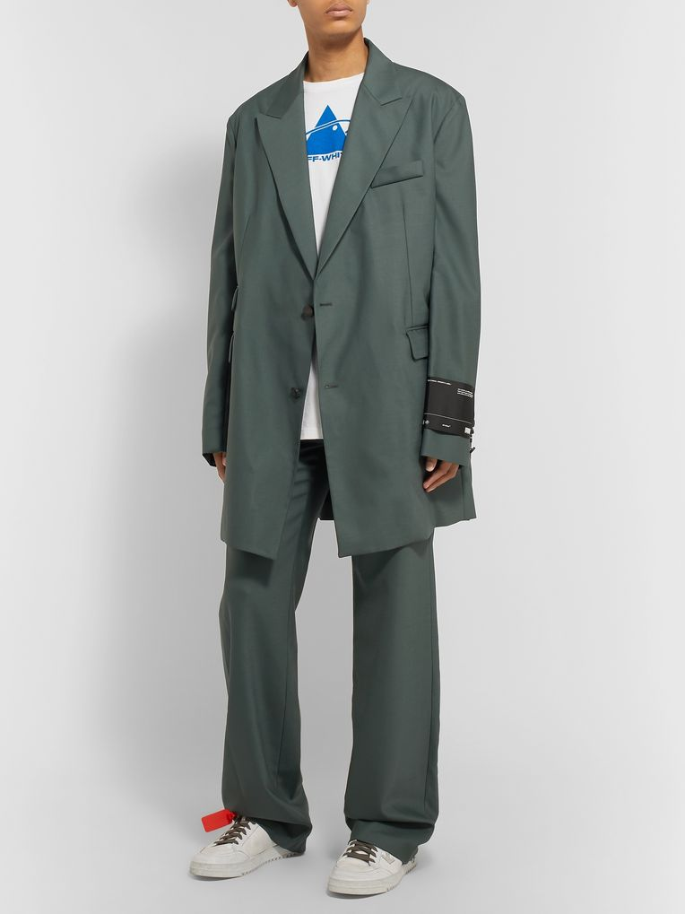 Off-White Grey-Green Oversized Virgin Wool-Blend Suit Jacket