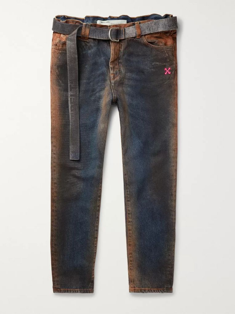 Off-White Oil-Washed Denim Jeans