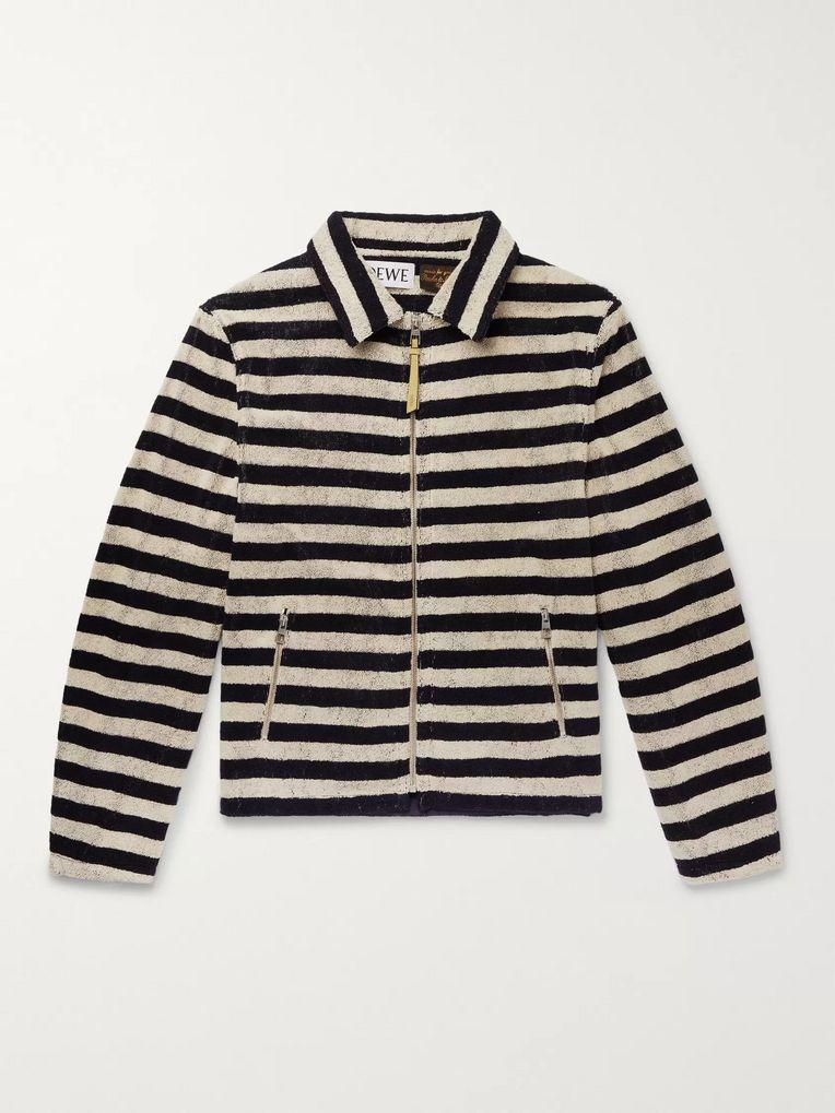 Loewe + Paula's Ibiza Appliquéd Striped Cotton-Terry Zip-Up Sweatshirt