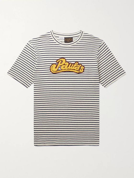 Loewe + Paula's Ibiza Logo-Appliquéd Striped Cotton T-Shirt