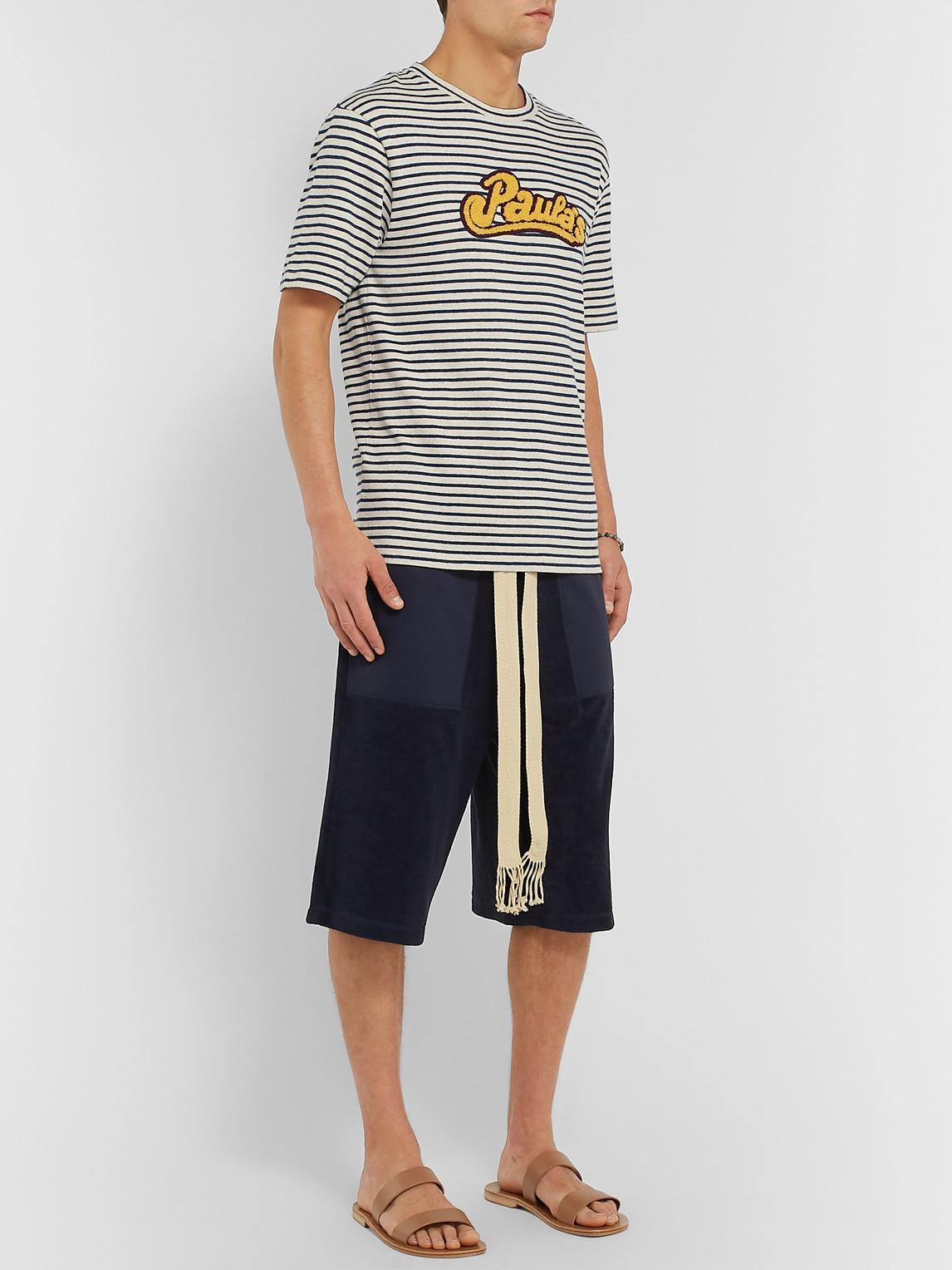 Loewe T-shirts PAULA'S IBIZA LOGO-APPLIQUÉD STRIPED COTTON T-SHIRT