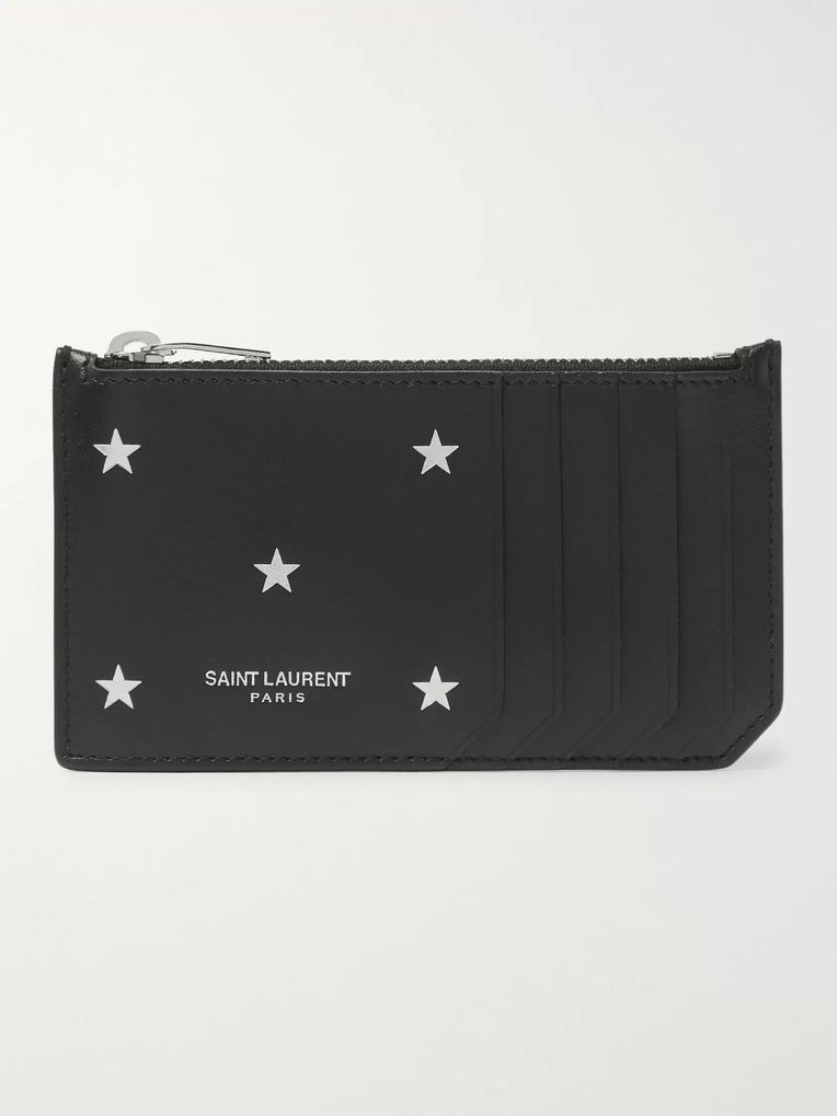 SAINT LAURENT Printed Leather Zipped Cardholder