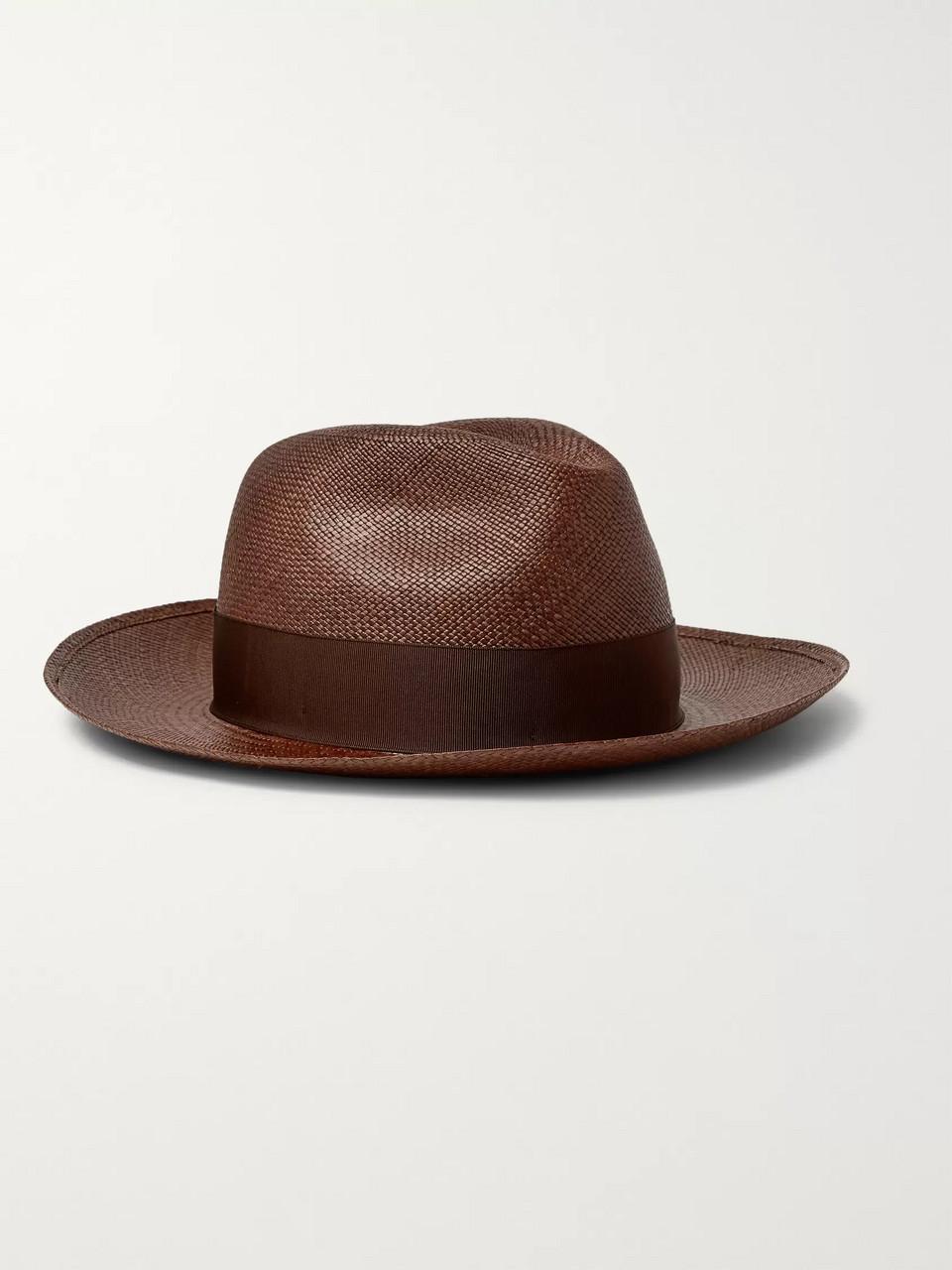 3d55b070515100 Brown Grosgrain-Trimmed Straw Panama Hat | Borsalino | MR PORTER