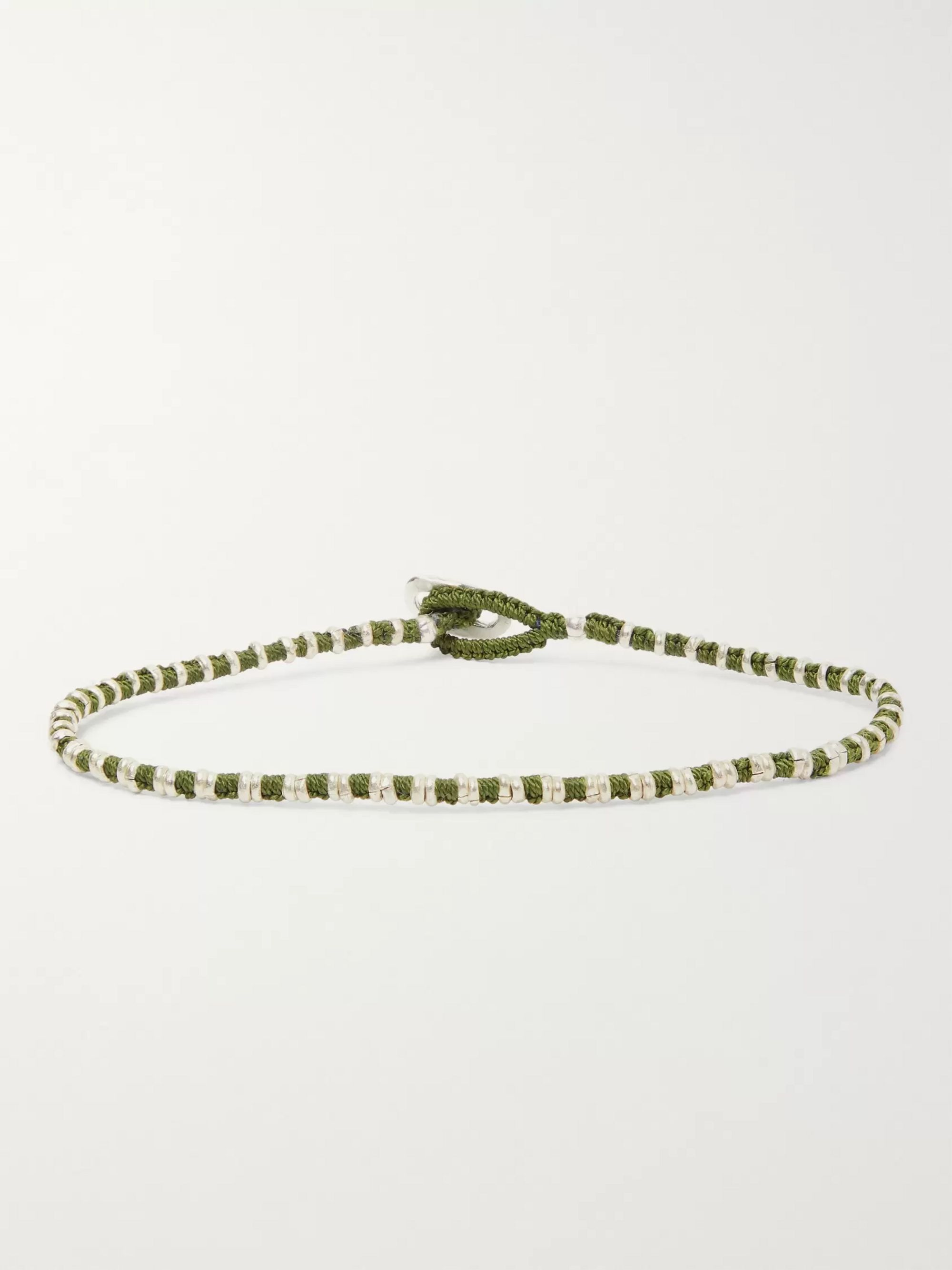 Mikia Silver-Tone and Rope Bracelet