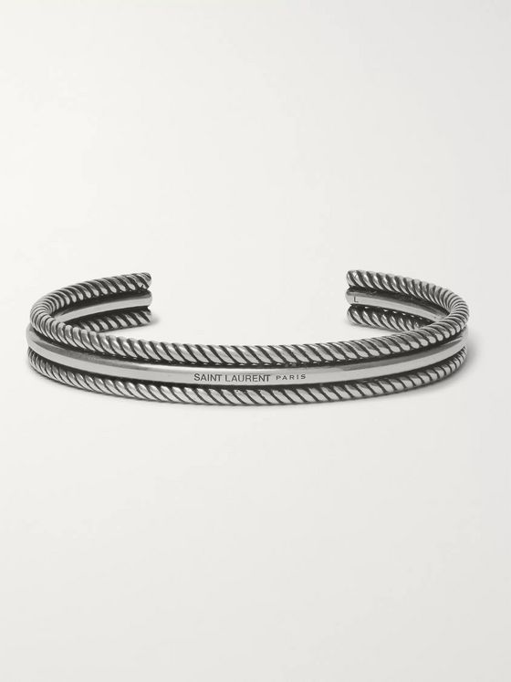 SAINT LAURENT Double Rope Sterling Silver Cuff