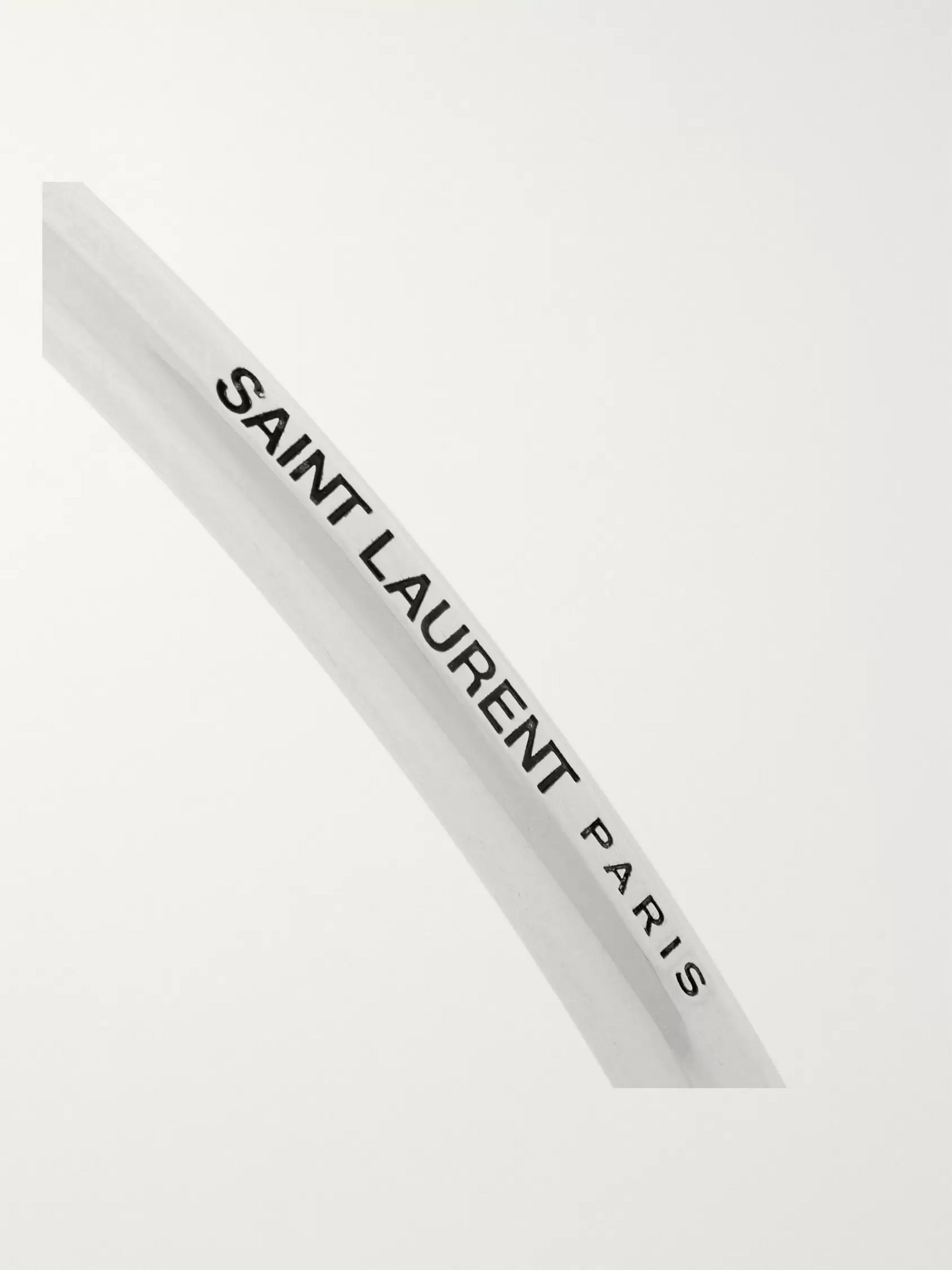 SAINT LAURENT Logo-Engraved Silver-Tone Cuff