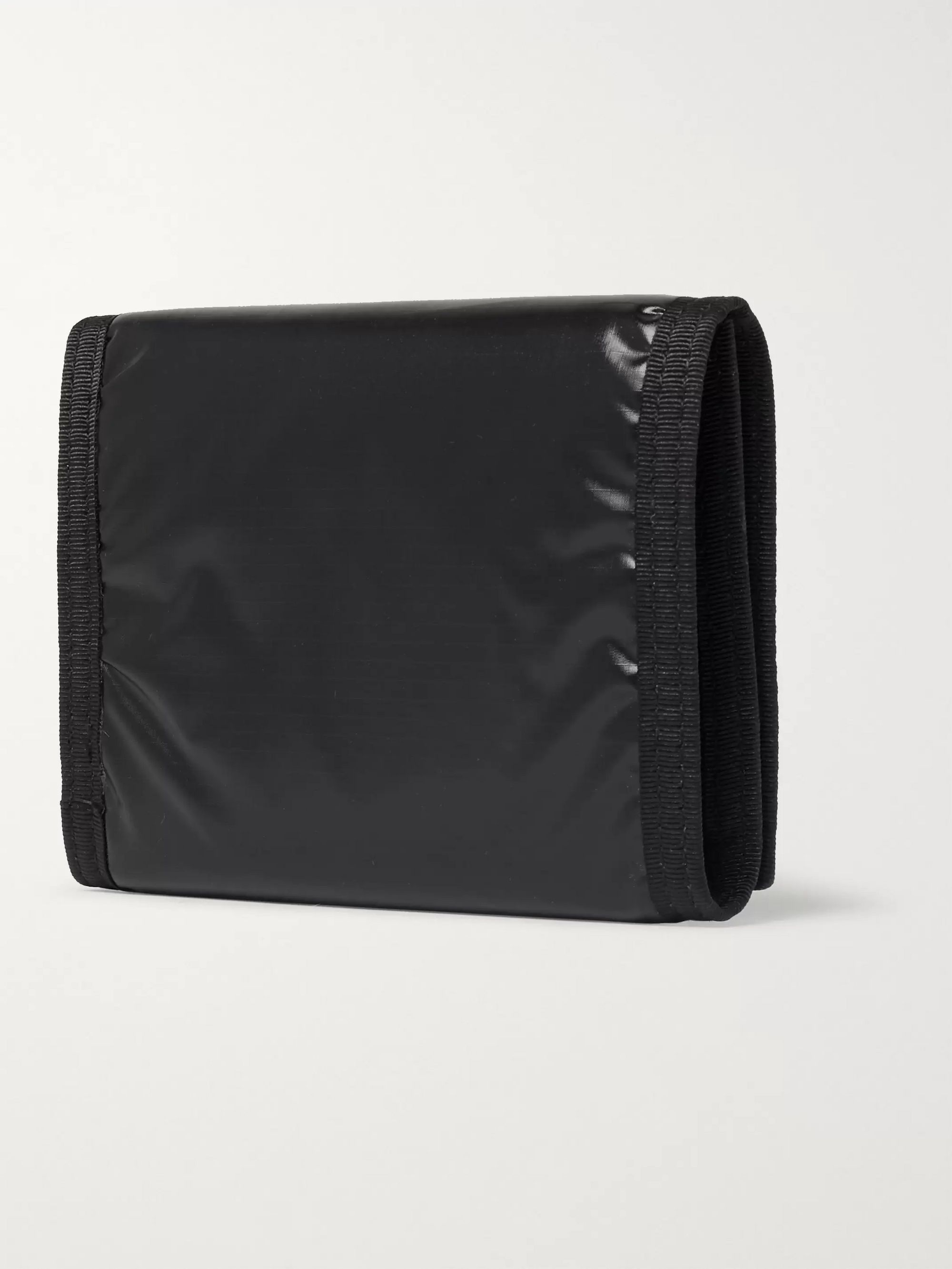 SAINT LAURENT Logo-Print Glossed Nylon-Ripstop Trifold Wallet