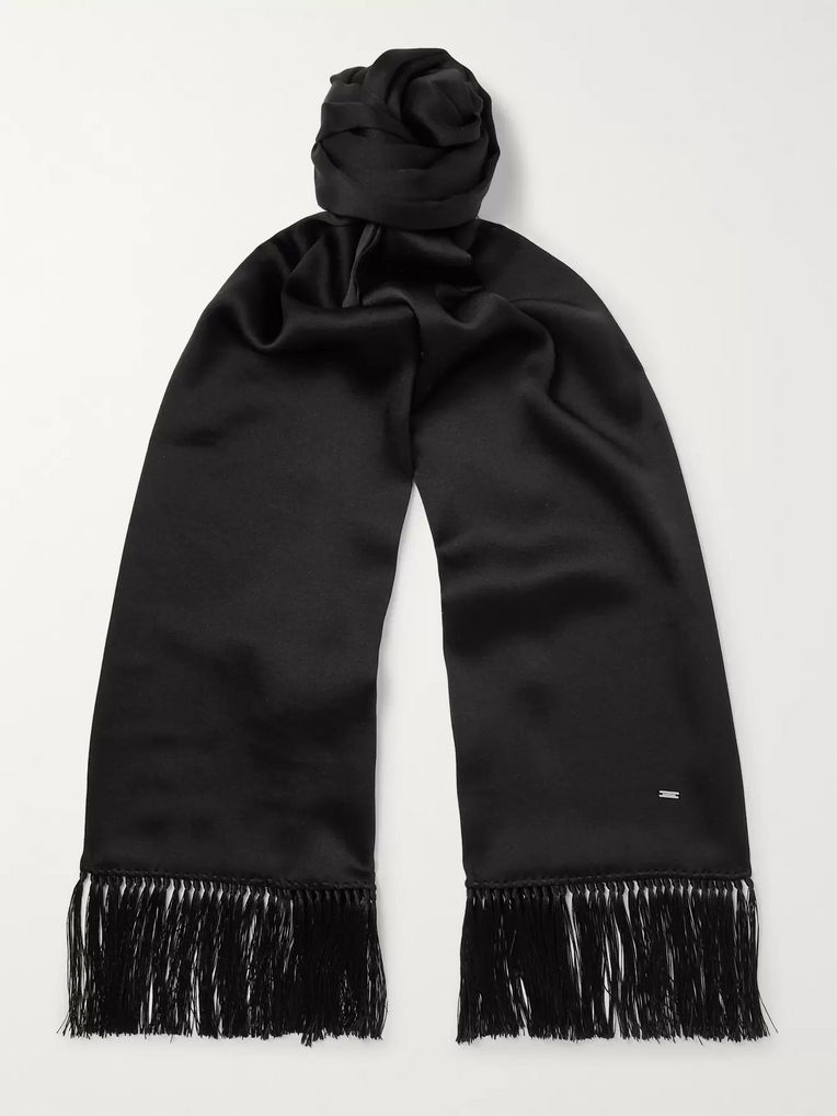 SAINT LAURENT Fringed Silk Scarf