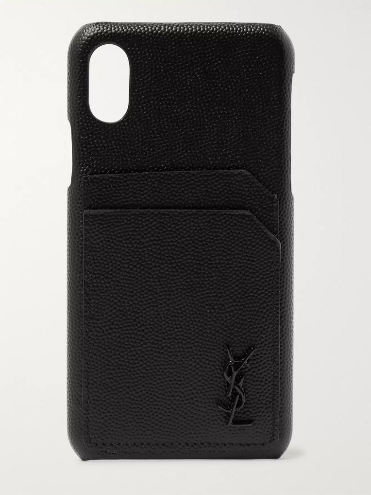 SAINT LAURENT Logo-Embossed Leather iPhone X Case