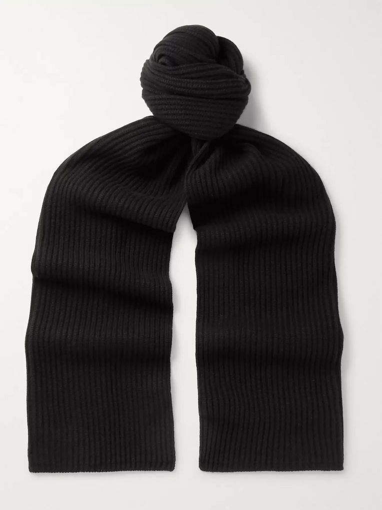 SAINT LAURENT Ribbed Wool and Cashmere-Blend Scarf