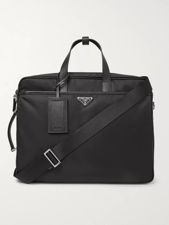 Prada Saffiano Leather-Trimmed Nylon Briefcase