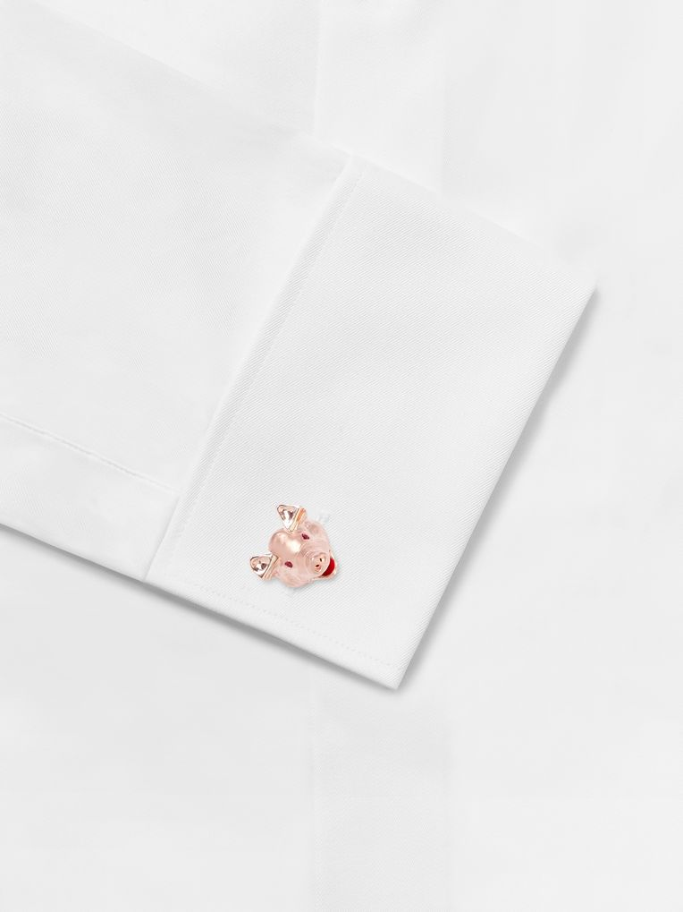Deakin & Francis Pig Head Rose Gold-Plated Ruby Cufflinks