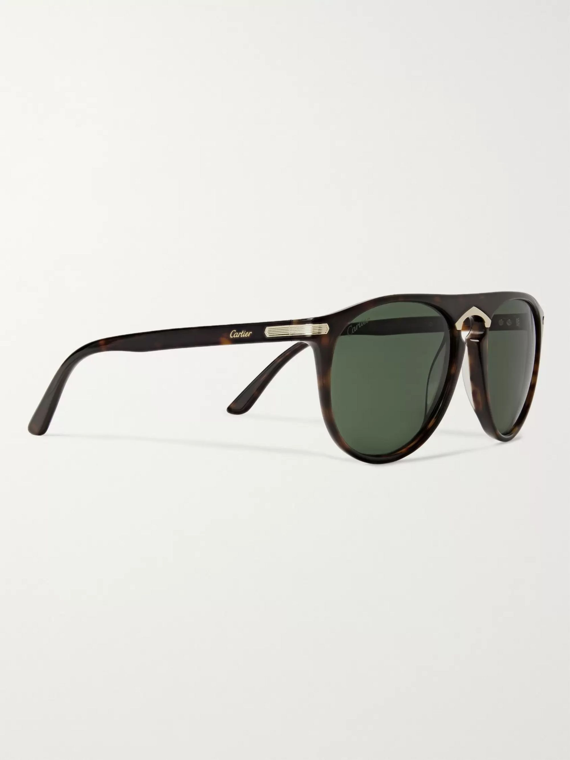 Cartier Eyewear Aviator-Style Tortoiseshell Acetate and Gold-Tone Sunglasses