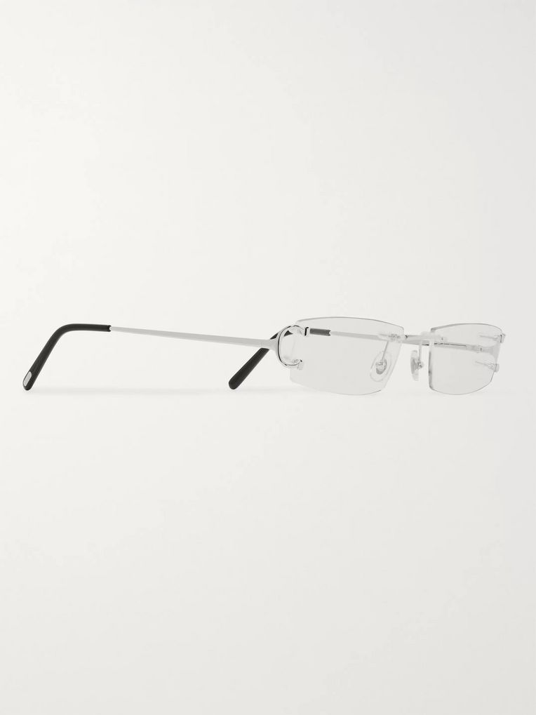 Cartier Eyewear Frameless Silver-Tone Optical Glasses