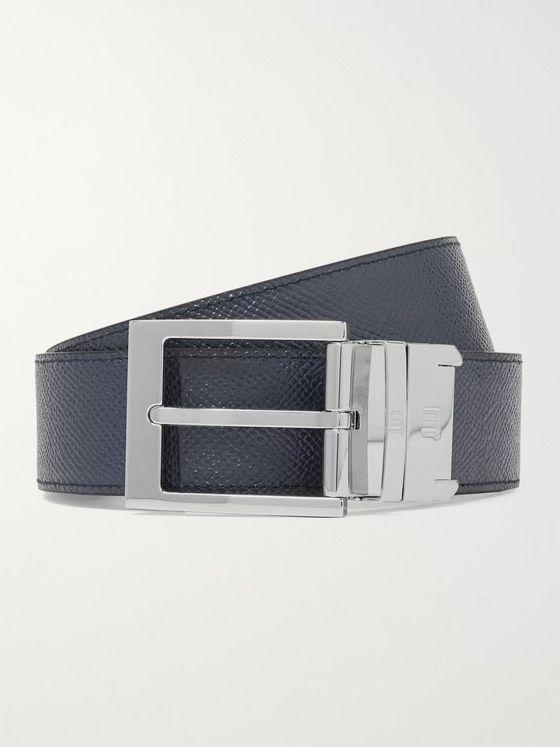 Dunhill 3.5cm Black and Navy Reversible Pebble-Grain Leather Belt