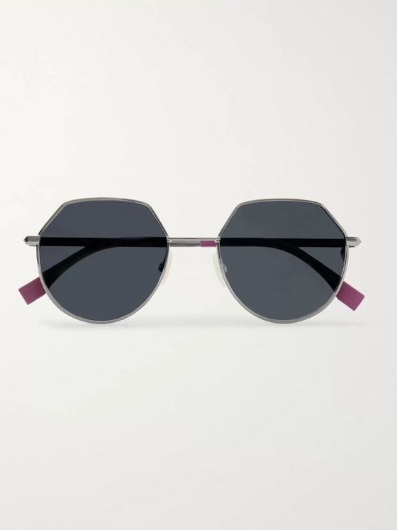 Fendi Hexagon-Frame Gold-Tone Sunglasses