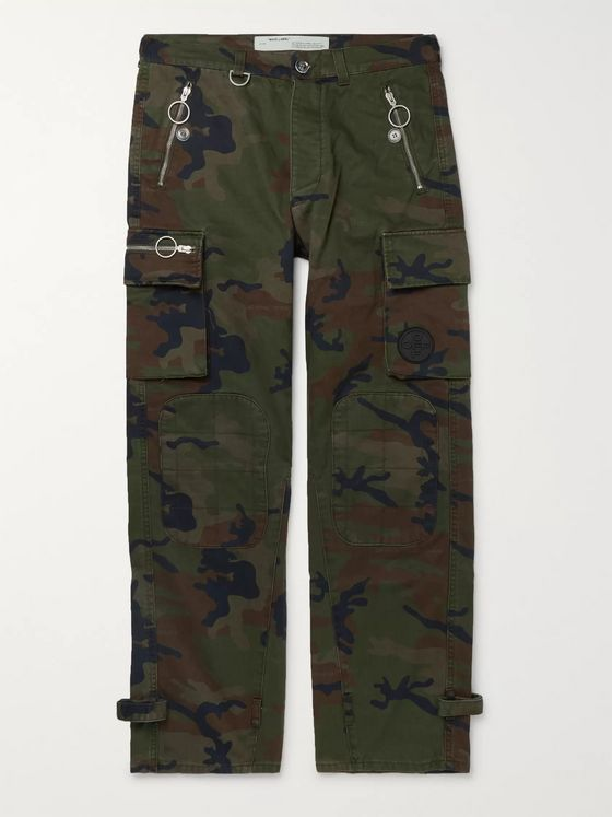 Off-White Logo-Embellished Camouflage-Print Cotton-Twill Cargo Trousers