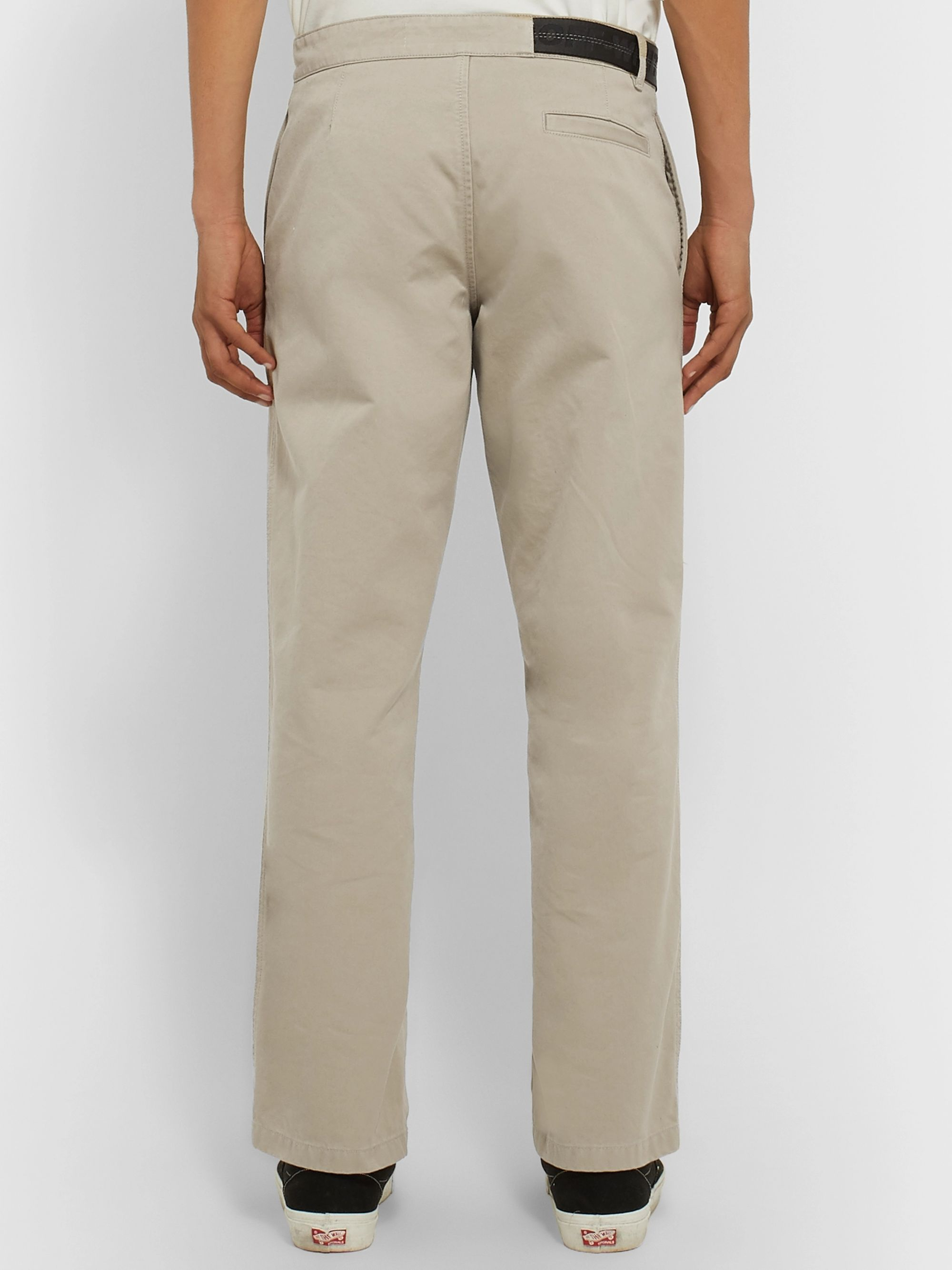 Off-White Belted Logo-Trimmed Cotton-Twill Chinos