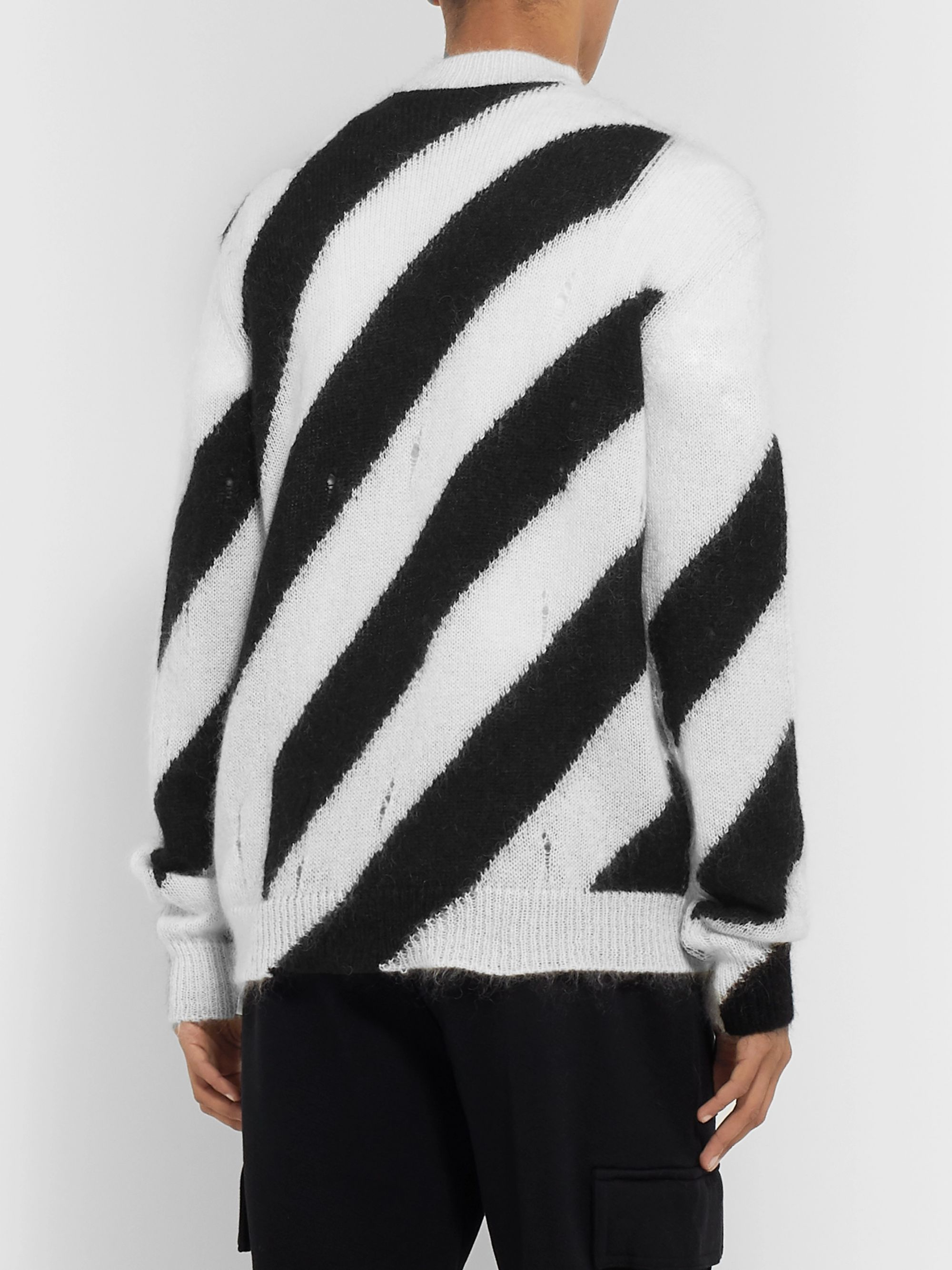 Off-White Logo-Appliquéd Distressed Striped Mohair-Blend Sweater