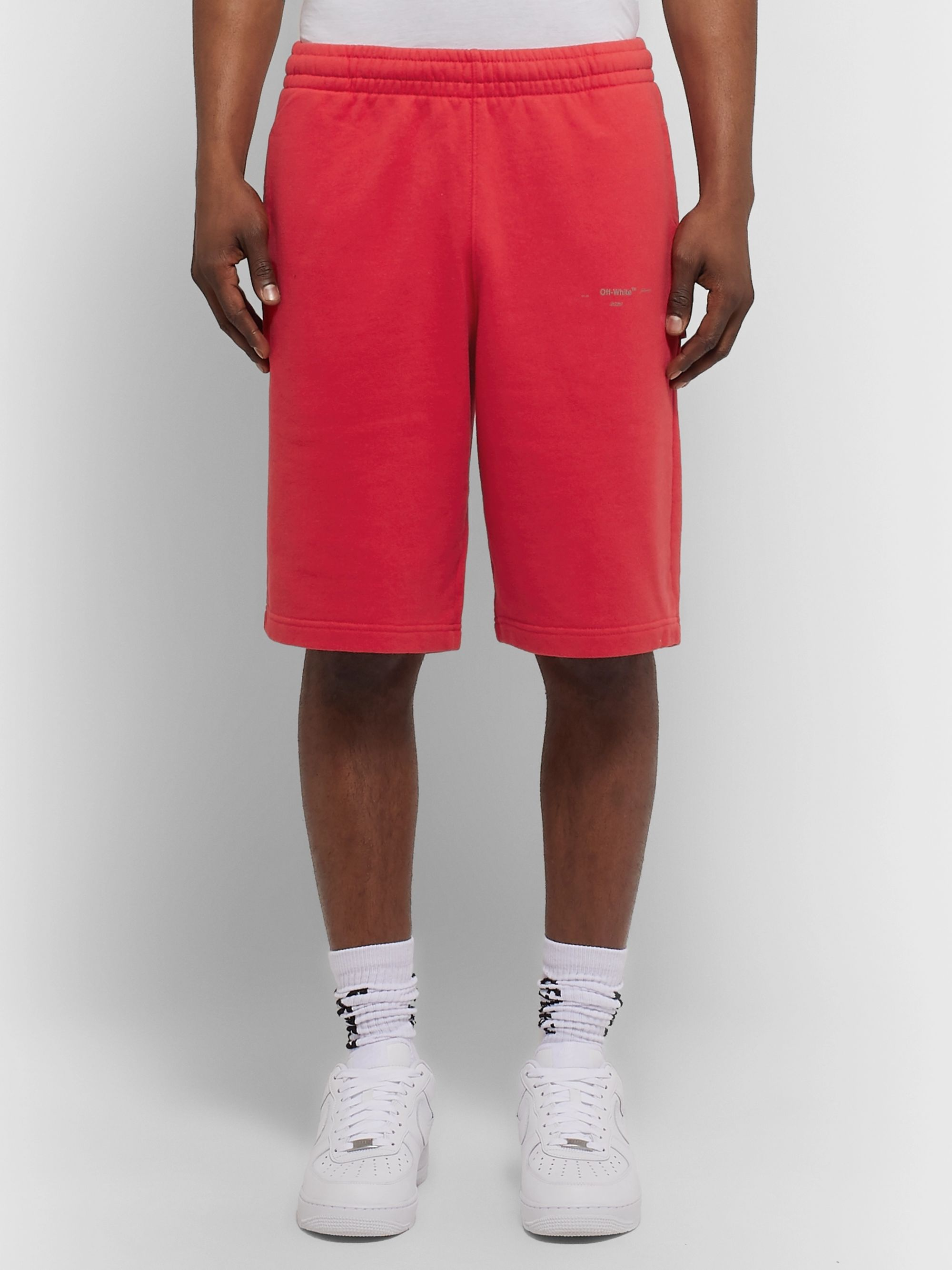Off-White Logo-Print Loopback Cotton-Jersey Shorts