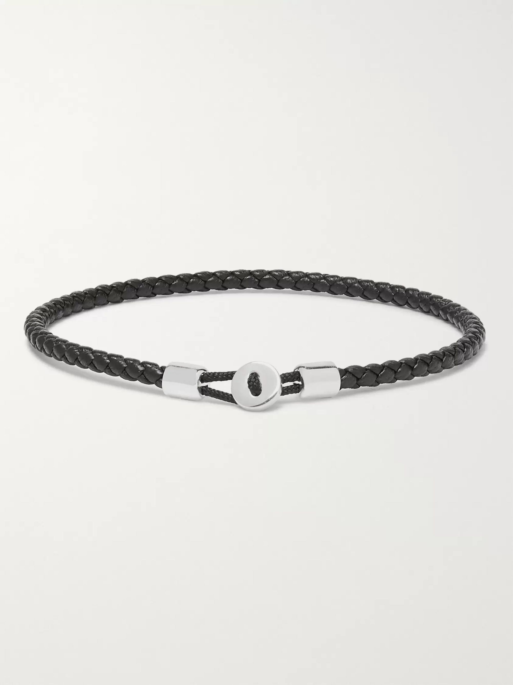 Miansai Nexus Woven Leather and Sterling Silver Bracelet