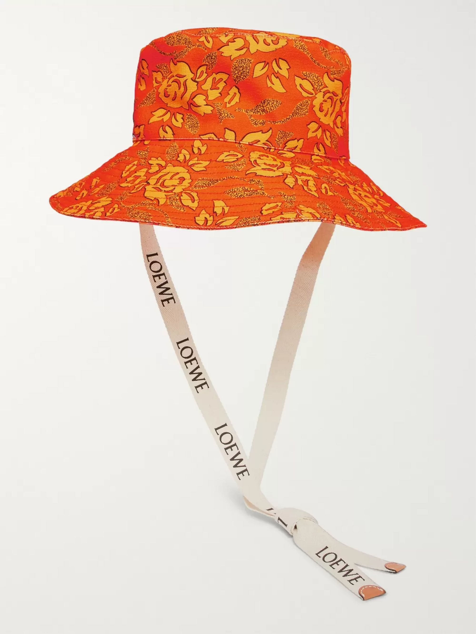 Loewe + Paula's Ibiza Leather-Appliquéd Printed Cotton-Canvas Bucket Hat