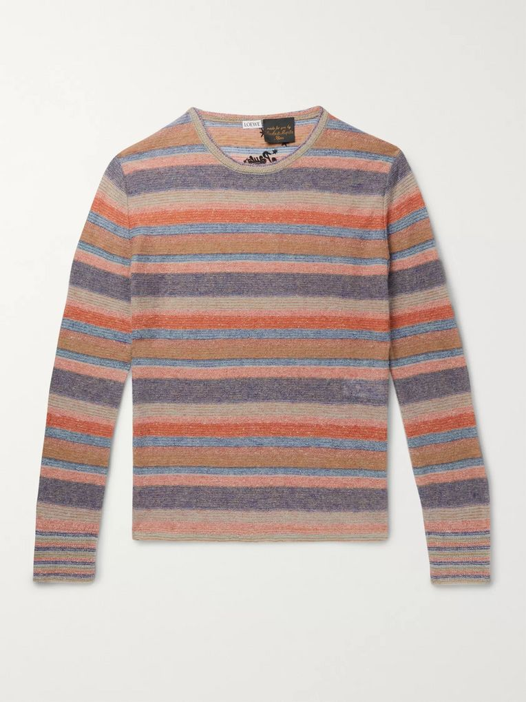 Loewe + Paula's Ibiza Embroidered Striped Knitted Sweater