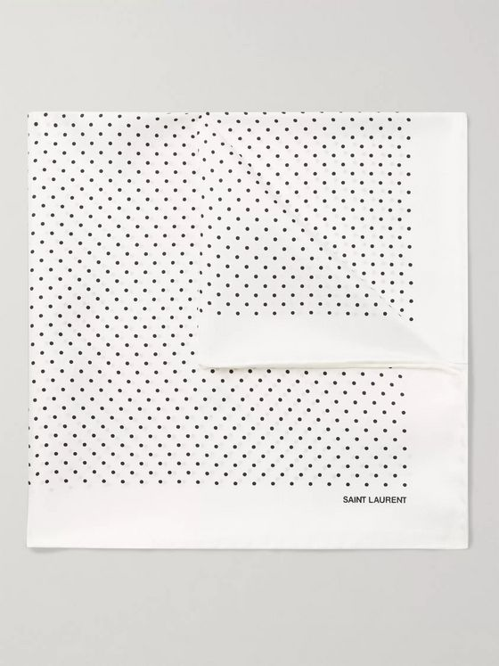 SAINT LAURENT Polka-Dot Silk-Twill Pocket Square