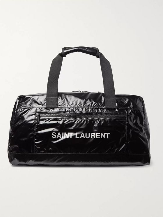 SAINT LAURENT Metallic Logo-Print Glossed Nylon-Ripstop Holdall